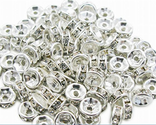 100 Pcs Swarovski Crystal Rondelle Silver Spacer Bead 6mm (White Spacer)