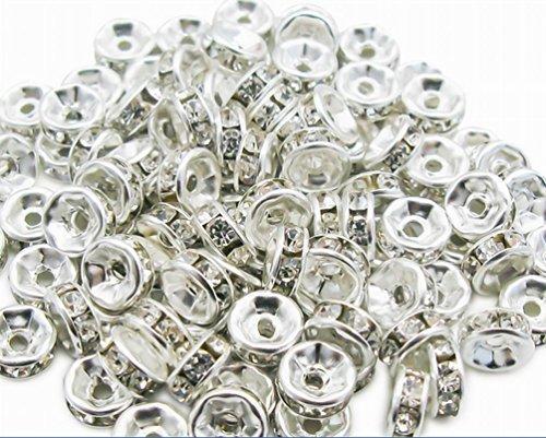 Swarovski Crystal Spacers (100 Pcs Swarovski Crystal Rondelle Silver Spacer Bead 6mm White)