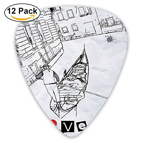 Newfood Ss Gondola Silhouette On Venetian Canal With I Love Venice Frame Guitar Picks 12/Pack Set ()