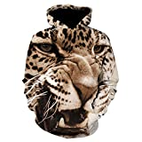 Clearance Sale Mens 3D Printed Tiger Pullover Long Sleeve Hooded Sweatshirt Tops Blouse