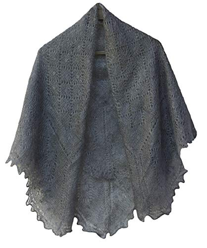 Fedelkea Orenburg Shawl Grey Wrap Lace Knitted Wool Goat Down Russian Handmade