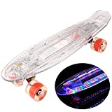 WeSkate 22 Inch Mini Cruiser Skateboard Plastic Complete Skate Board with LED Light Up Deck for Kids/Youths/Adults/Beginners (White Red)