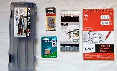 Artist Sketch Set Drawing Bundle with 5 items including Sketching Pencils, Pad, Kneaded Eraser, Pencil Sharpener & Art Supply Storage Box