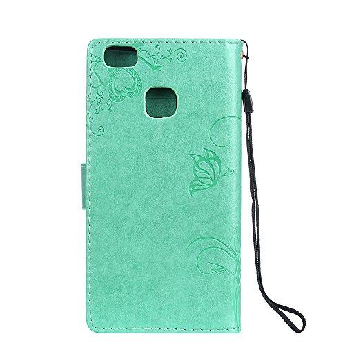 Huawei P9 Lite Hülle Leder Blumenprägung, Lomogo Schutzhülle Brieftasche mit Kartenfach Klappbar Magnetverschluss Stoßfest Kratzfest Handyhülle Case für Huawei P9Lite - LOGUH20235 Rosa Grün