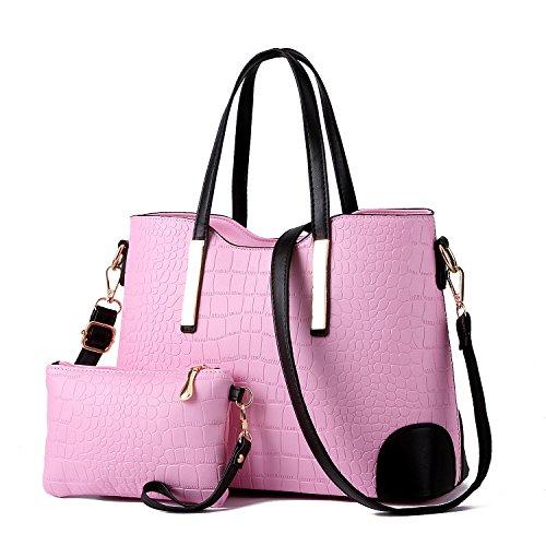 XIN BARLEY Women Shoulder Bag 2 Piece Tote Bag Pu Leather Handbag Purse Bags Set Pink