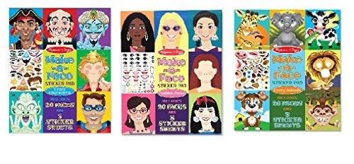 Melissa & Doug Bundle of 3, Make-a-face Sticker Collection. ()