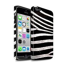 STUFF4 Matte Tough Shock Proof Phone Case for Apple iPhone 4/4S / Black/White Design / Zebra Animal Skin/Print Collection