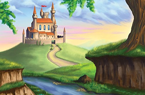 JP London Mural Enchanted Castle Storybook Fairy Tale at 3 Wide by 2 Feet high SPMUR2061 Fully Removable Peel and Stick Wall Art