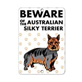 Beware of AUSTRALIAN SILKY TERRIER DOG LABEL DECAL STICKER Sticks to Any Surface - 8 In x 12 In