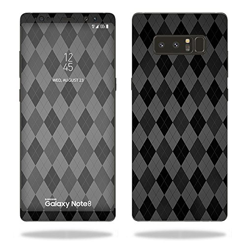 MightySkins Skin for Samsung Galaxy Note 8 - Black Argyle | Protective, Durable, and Unique Vinyl Decal wrap Cover | Easy to Apply, Remove, and Change Styles | Made in The USA
