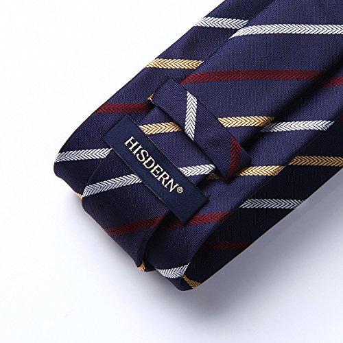 amp; amp; Yellow Square Classic Necktie Striped Handkerchief Pocket Silk Navy Check Wedding Men's Set HISDERN Woven White Tie amp; Blue TU1Sa