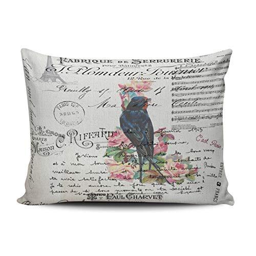 (MUKPU Romantic French Victorian Tree Bird Love Letters Home Decor Sofa Pillowcase 12X20 Inch Lumbar Throw Pillow Case Hidden Zipper Single-Sided Printed)