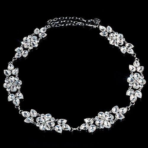 [해외]【 무상 표 품 】 여성 크리스탈 라인 스톤 꽃 허리 체인 벨트 실버 액세서리 / Women Crystal Rhinestone Flowers Waist Chain Belt Silver Accessories