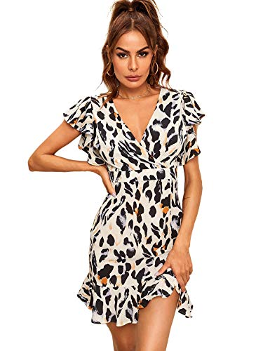 Leopard Print V-neck Dress - Floerns Women's Leopard Print V Neck Ruffle Surplice Front Dress White M
