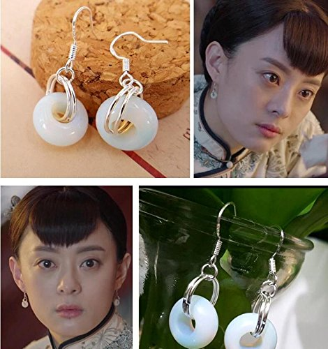 Betty Sun in a perfect circle 925 silver hook that glass earrings long paragraph sexy goddess flowers Ms. earrings ethnic ()