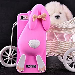 ZLXUSA (TM) Solid Rabbit Silicone Case for iPhone 5/5S Rose