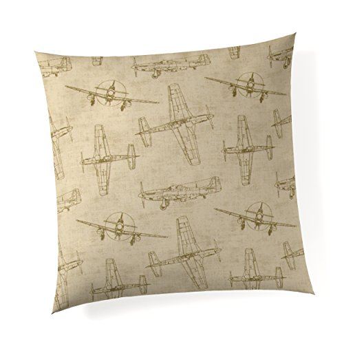 """Glenna Jean Airplanes 18""""x 18"""" Pillow with Fill for Baby Nursery, Decorative Soft Cushion Square from Glenna Jean"""