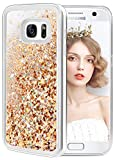 wlooo Samsung Galaxy S7 Glitter Case, Liquid Crystal Shiny Moving Quicksand Slim Clear Transparent Flowing Floating Soft TPU Bumper Silicone Shockproof Protective Luxury Bling Phone Cover -Gold Silver
