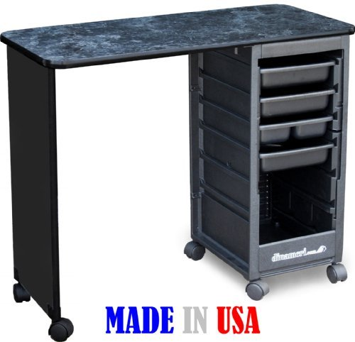 C119 ECONO Manicure Nail Table Black Marble Laminated Top...