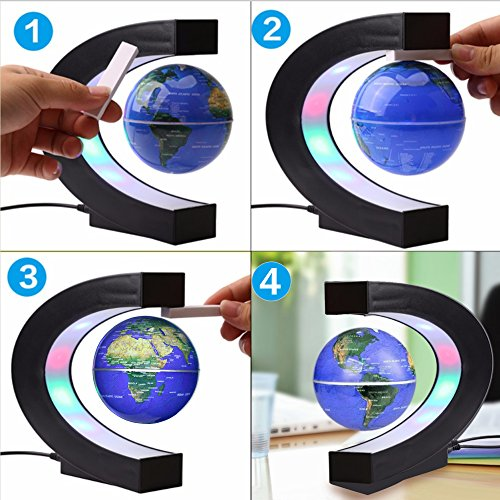 Floating Globe with Colored LED Lights C Shape Anti Gravity Magnetic Levitation Rotating World Map for Children Gift Home Office Desk Decoration (Blue)