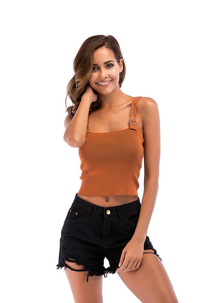 WELVT Womens Summer Sling Sleeveless Tank Bustier Bra Knitwear Cami Tank Tops