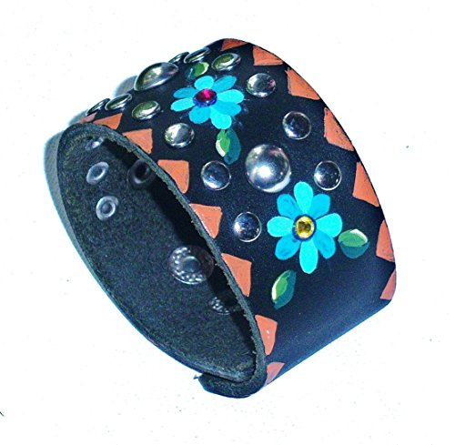 Funky Adjustable Black Leather Cuff Studded Bohemian Bracelet With Hand Painted Blue Flowers - Hand Painted Black Leather