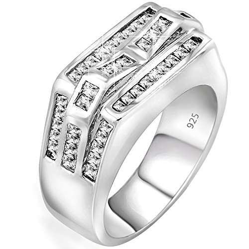 Men's Sterling Silver .925 Ring with Channel Set Baguette Cubic Zirconia (CZ) Stones. Platinum Plated. By Sterling Manufacturers