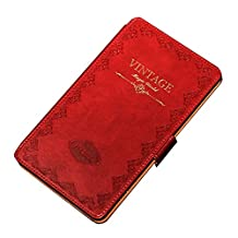 Mosiso Classic Retro Book Style Smart Case for New Nexus 7 2nd Gen - Slim-Fit Multi-angle Stand (Red)
