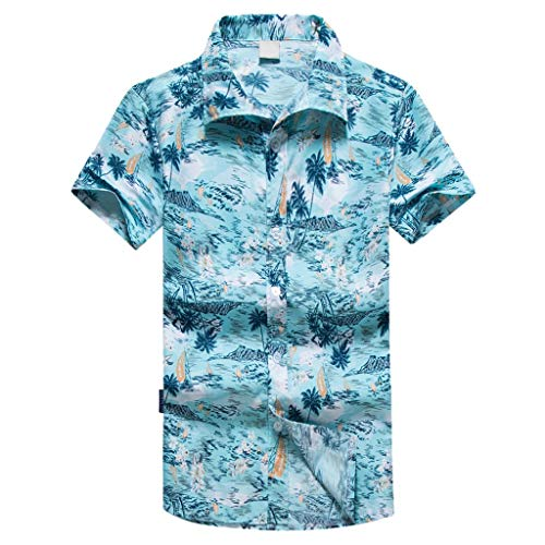 NUWFOR Men Hawaiian Print Short T-Shirt Sports Beach Quick Dry Blouse Top Blouse(Blue,XL US Chest:45.3'' by NUWFOR (Image #7)