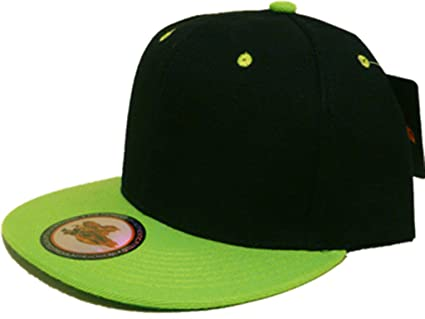 d1f32aa29e075 Amazon.com   Black Lime Green Vintage Style Snap Back Flat Bill ...