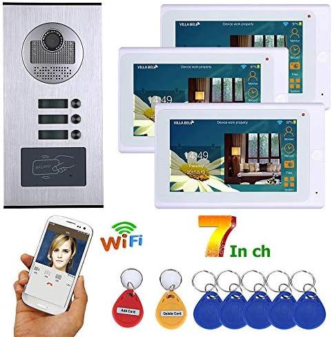 防水3ボタン3モニタ付き7インチ有線無線LAN 3つのアパートビデオドア電話インターホンシステムRFID IR-CUT HD 1000TVLカメラドアベルカメラ