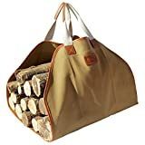 INNO STAGE Canvas Log Carrier Bag,Durable Wood Tote,Fireplace Stove Accessories,Extra Large Firewood Holder with Handles for Camping Khaki