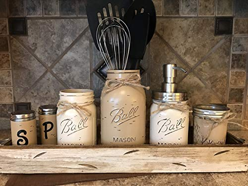 Ball Mason Jar KITCHEN ULTIMATE SET Antique WHITE TRAY ~Salt and Pepper Shakers, Pint Jars, Quart Utensil Holder, Soap Dispenser ~Distressed, Stainless Steel Silver Accessories Gray Brown Cream Tan