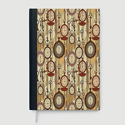 Beige,College Ruled Notebook/Composition/Journals/Dairy/Office Note Books,Retro Style Old Nostalgic Watches Feathers and Keys 1920s Bohemian Art Prints,96 Ruled Sheets,B5/7.99x10.02 in