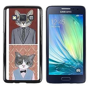 iKiki Tech / Estuche rígido - Business Cat Funny Cute Pop Art Suit - Samsung Galaxy A3 SM-A300