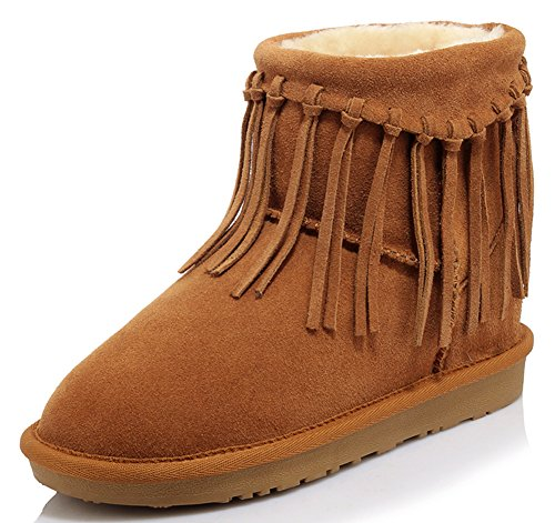 Tassels Leather APHNUS Cow Brown Womens Winter Boots Short Boots Snow 5w4pq6XZnp