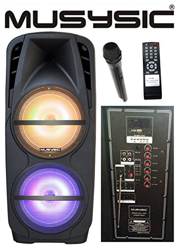 musysic professional dual 2x12 2000w speaker pa system uhf wireless mic bluetooth rechargeable. Black Bedroom Furniture Sets. Home Design Ideas