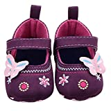 VIASA Fashion Butterfly Soft Sole Toddler Baby Shoes (0~6 Month, Purple)