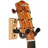 String Swing Guitar Hanger - Holder for Electric Acoustic and Bass Guitars - Stand Accessories Home or Studio Wall - Musical Instruments Safe without Hard Cases - Oak Hardwood CC01K-O 2-Pack