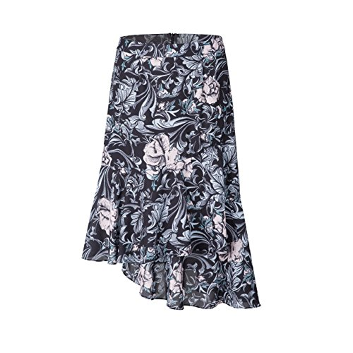 Tronjori Womens A Line Floral Print Skirt Flared Hem (M, Black IV) ()