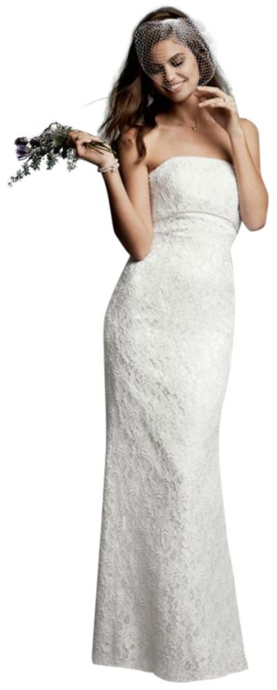 David's Bridal Sample: Allover Beaded Lace Sheath Gown with Empire Waist. Style AI16020040.