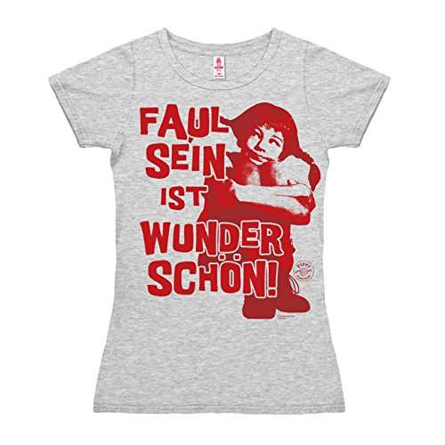 Camiseta para mujer Pippi Calzaslargas - Ser Perezoso - Pippi Långstrump - Faul Sein - de color - Gris Vigoré - Diseño original con licencia - LOGOSHIRT gris