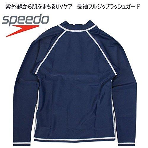 (スピード)speedo子供長袖ラッシュガード男の子女の子フルジップ水着ネイビー-ホワイト120