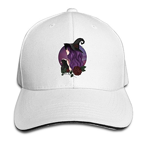 XIUHUA Sandwich Peaked Cap 100% Cotton The Witch With Black Cat.PNG Peaked Baseball Hat