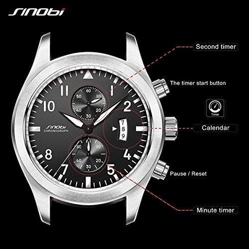 11S9662G01 SINOBI Watch Men Military Chronograph Wrist Watches Luxury Brand Date Leather Clock Male Sports Shock Geneva Quartz Wristwatches