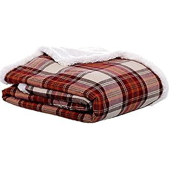 Eddie Bauer Edgewood Plaid Flannel Sherpa Throw Blanket, 50