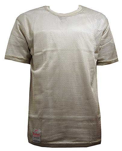 - Pendeen Mens Premium Mesh Fishnet String Short Sleeve T-Shirt Loose Fit (Large, Stone)