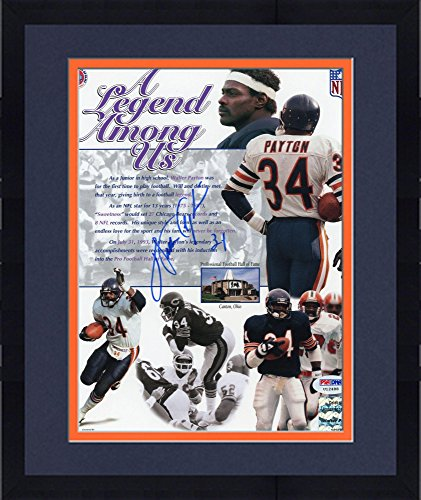 (Framed Walter Payton Chicago Bears Autographed 8