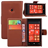 Nokia Lumia 520/521 Case,CAPY Nokia Lumia Wallet PU Leather Case Flip Cover Case Built-in Card Slots & Stand & Stylus Pen (Brown)