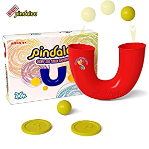 Pindaloo Skill Toy For Kids & Adults - Develops Creativity, Improves Fine Motor Skills & Hand Eye Coordination - 1 Tube, 1 Ball, 2 Caps - Red